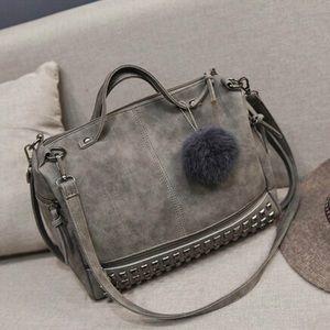 Handbags - Faux Leather Crossbody Studded Handbag